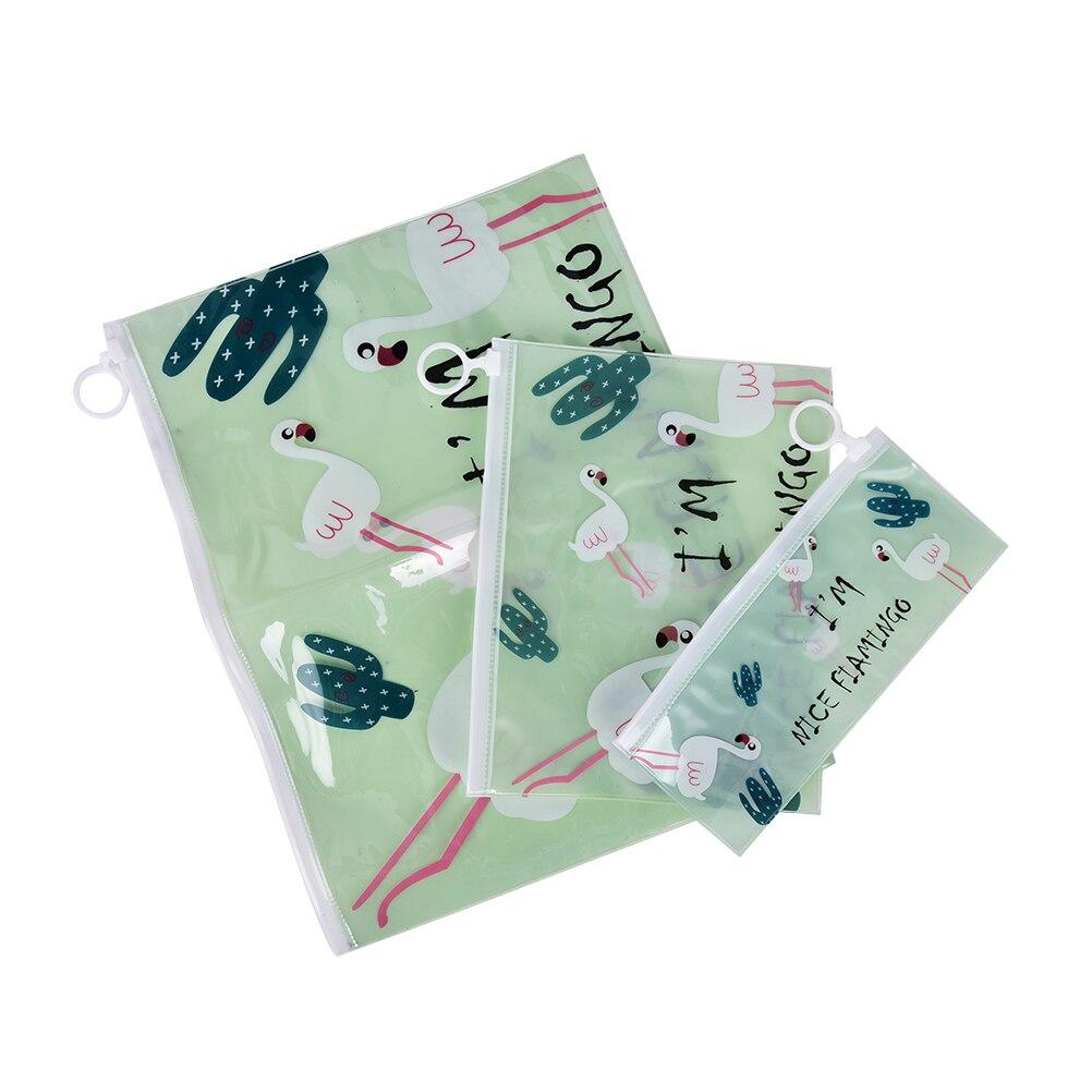 Nice Cute Flamingo Bird Green Cactus A4 A5 B6 Mini File Bag Mesh Bag Document Bag PVC File Folder Stationery Filing Production