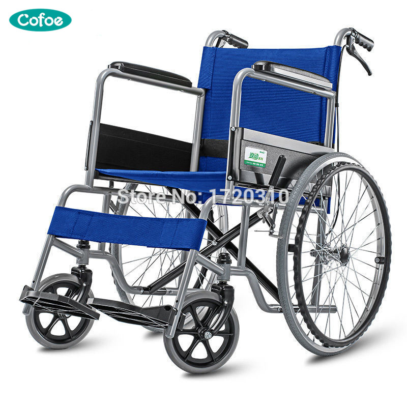 the best attitude afcdc 5d77c Cofoe Blue Aluminum Alloy Wheel chair lightweight folding Self Propelled  wheelchair BLUE with brake