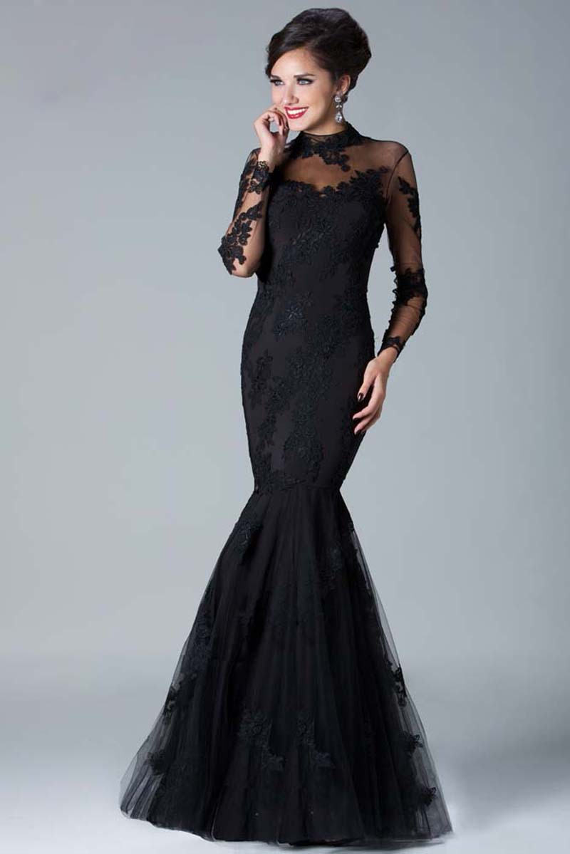 E0425 Sexy sheer straps long sleeve black lace mermaid lace prom ...
