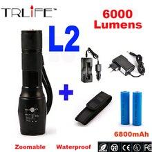 L2 Linterna 6000lm DEL CREE XML-T6 Zoomable Ajustable Linterna led Lámpara de Luz LED Táctica de La Antorcha Linterna Recargable 18650