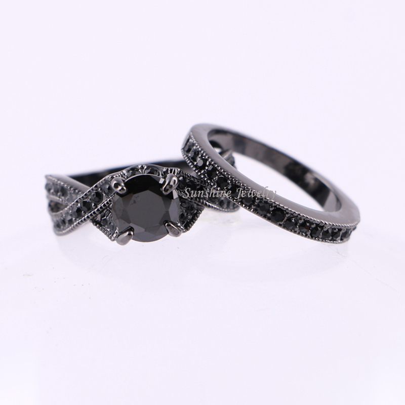 Black Cubic Zirconia Plated Women S Gold Wedding Ring Set Engagement Turkish O Jewelry Maxi In Rings From