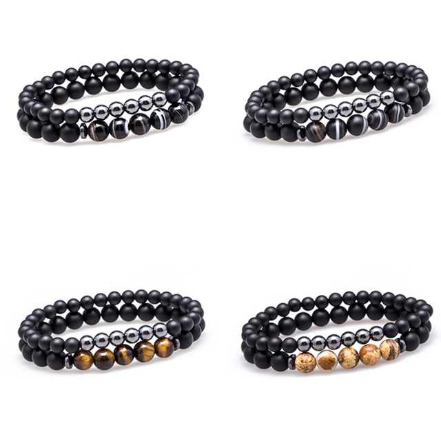 Lucky Gem Fashion Matte Striped Beads Mantra Prayer Beads Buddha 2pcs/set Bracelet for Women&Mens Hematite Pulseras Masculina 2