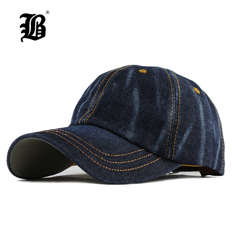 [FLB] Fashion Leisure Cowboy Washed Cotton Adjustable Solid color Baseball Cap Unisex Denim Hip Hop cap Casual Hat Snapback F130
