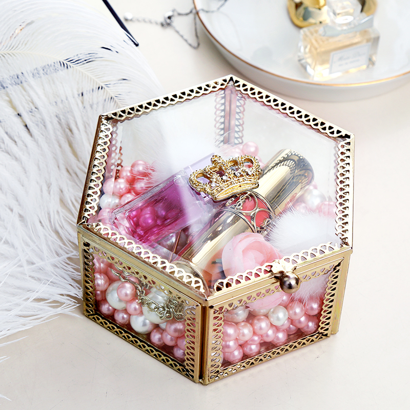 e4728e3cc INS Golden Crown Glass Hexagon Jewelry Box Storage Perfume cosmetics  Decorative Box girl's gift home decoration accessories-in Bottles, Jars &  Boxes from ...