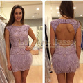 Sexy Vestidos De Fiesta Scoop Neck Lavender Venice Lace Open Back Short Cocktail Dress With Feather DYQ534
