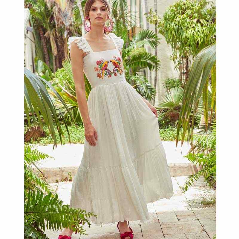 98352fc5b75a8 BOHO INSPIRED white long Dress birds embroidered Square neck Ruffle straps  2019 Spring Summer dress chic causal women dress