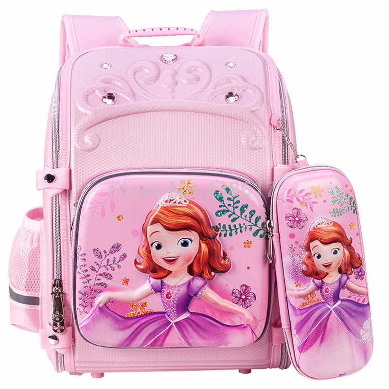 3D Pink Purple Sofia Princess School Bags With Pencil Case Set For Kids  Girls Children Elementary df5ed024f2161