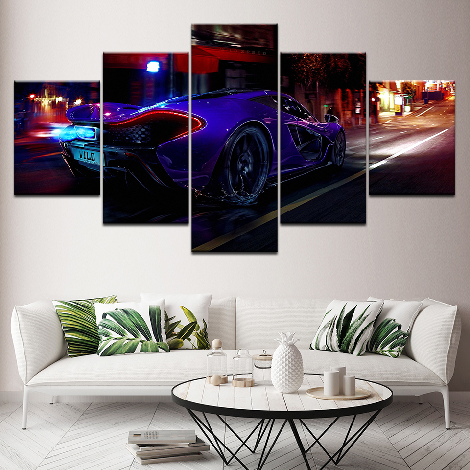 Home Decor For Living Room HD Printed Pictures 5 Pieces Black Luxury Sports Car Canvas Painting Vintage Poster Wall Artwork