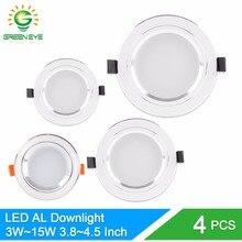 GreenEye 4 шт. серебристый белый светодиодный светильник 3 Вт 5 Вт 10 Вт 15 Вт Светодиодный светильник Встраиваемый светильник 110 В~ 220 В точечный светодиодный светильник из алюминия для потолка