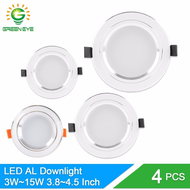 GreenEye 4Pcs Silver plate White LED Downlight 3w 5w 10w 15w Led Lamp Rested Light 110v~220v Make out LED DownLight Aluminum For Ceiling.