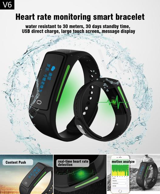 V6 smartwatch bluetooth monitor de frecuencia cardíaca en tiempo real smart watch pulsera a prueba de agua 30 días de tiempo de espera para android ios