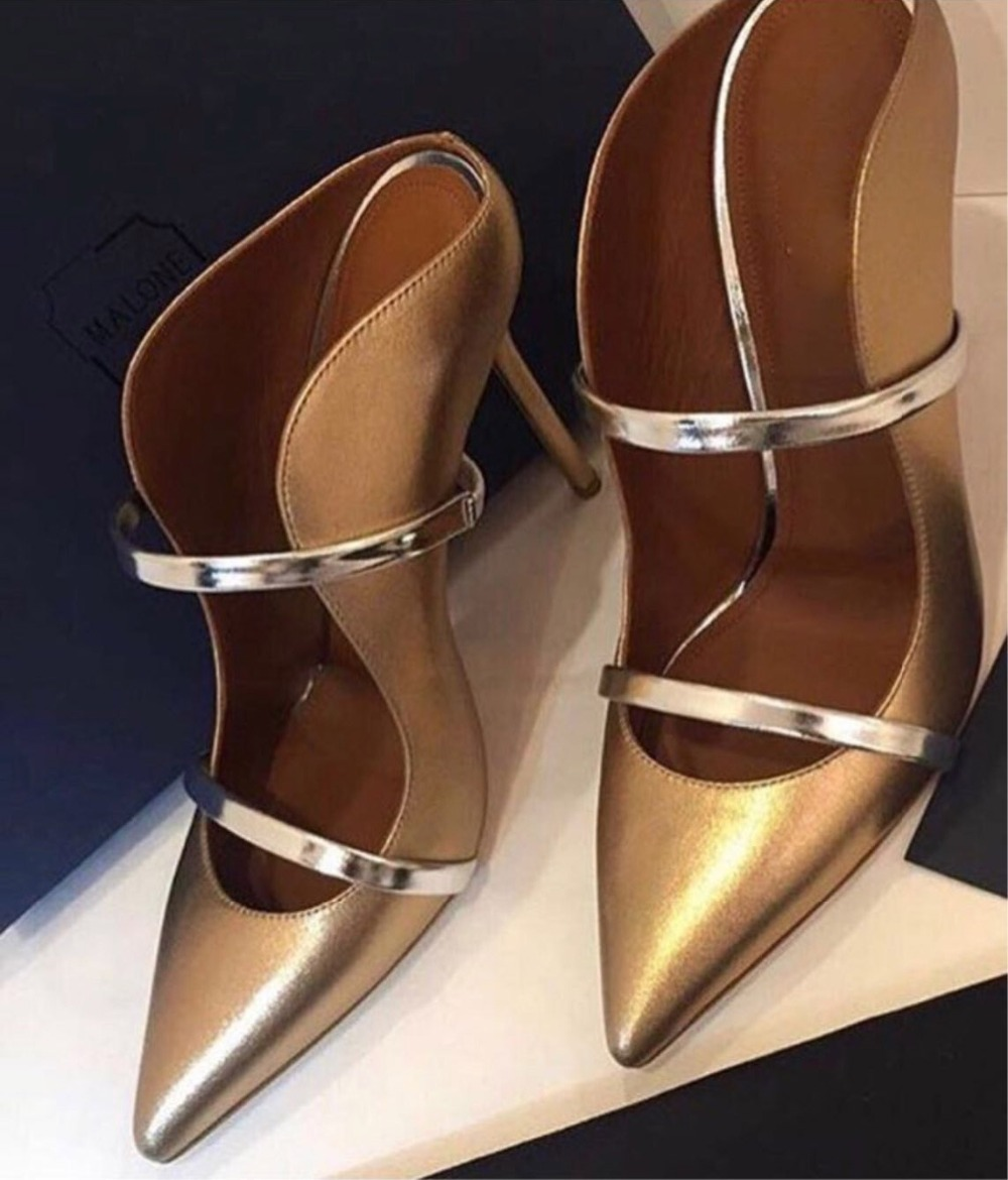 цена на Women Top Brand Gold Pointed Toe Stiletto Heel Pumps Shallow Cut Strap Patchwork Banquet Party Shoes Wedding Pumps Sexy Slippers