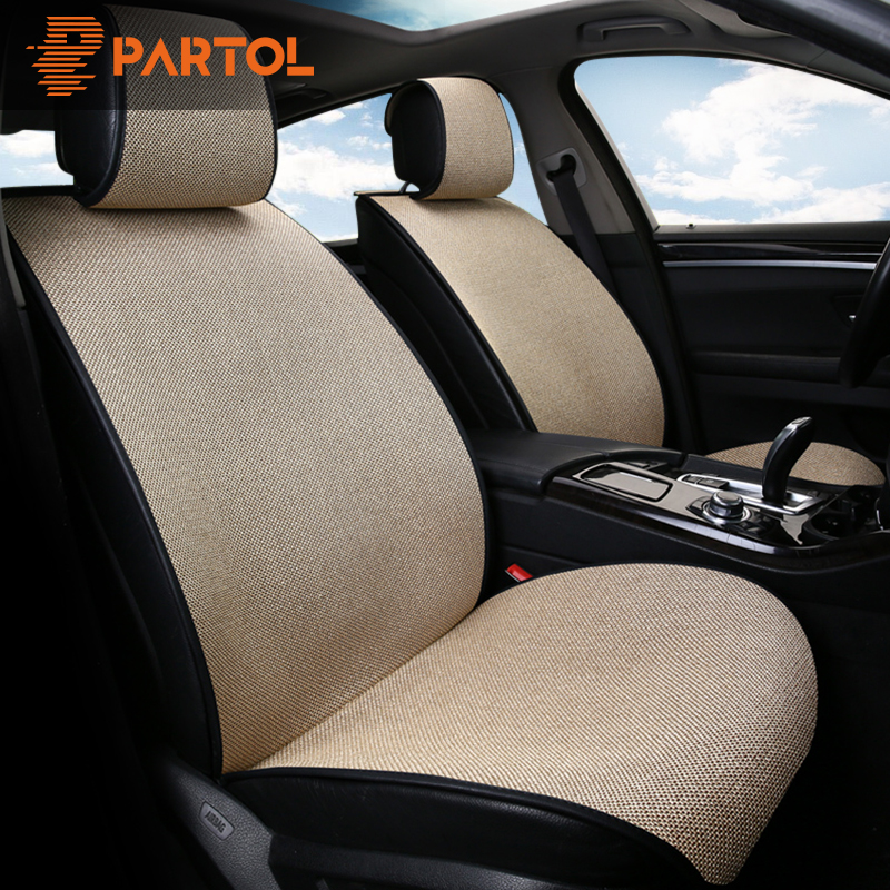 Partol 1 pc Breathable Flax Car Seat Cover Pad Universal Automobile Seat Covers Auto Seat Cushion Protector 4 Colour Car-Styling universal car seat cover fiber linen front cushion 3d car styling seat covers automobiles for toyota for hyundai 1pcs 3 colored