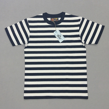 BOB DONG 2cm 줄무늬 선원의 티셔츠 Mens Crew neck Border 티셔츠 Slim Fit