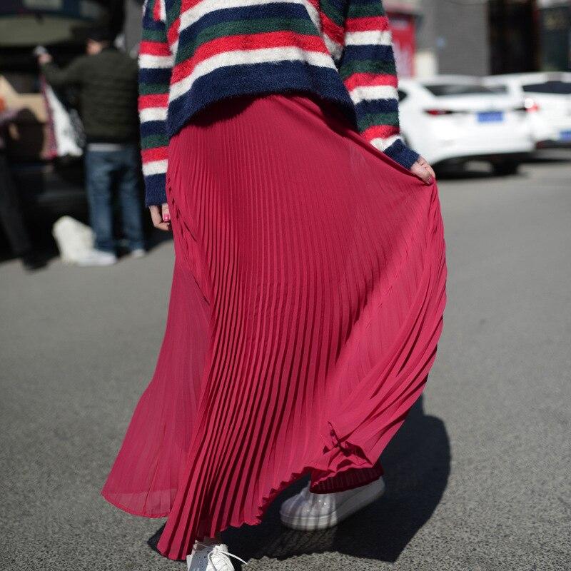 Vientisa spalva sifono ilgos sijonas elegantiškas pavasario vasaros - Moteriški drabužiai - Nuotrauka 3