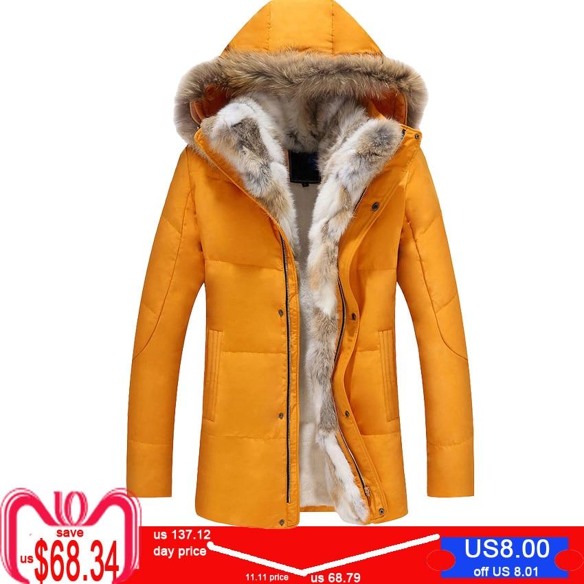 Wool Liner Jacket Men Winter Hooded Thick Warm Duck   Down     Coat   Male Long Parkas Women Feather Fur Collar Hat Snow Windbreaker