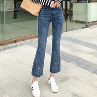 GCAROL New Women Denim Jeans Flared Pants Boot Cut Jeans High Street Wide Leg Pants with Metal Ring Decoration Plus Size 26 32