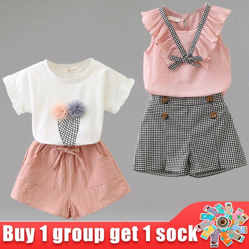 2020 crianças roupas de verão ternos novos sorvete design bebê arco camisas e calças 2 pçs conjuntos de roupas 2-6y crianças roupas de bebê