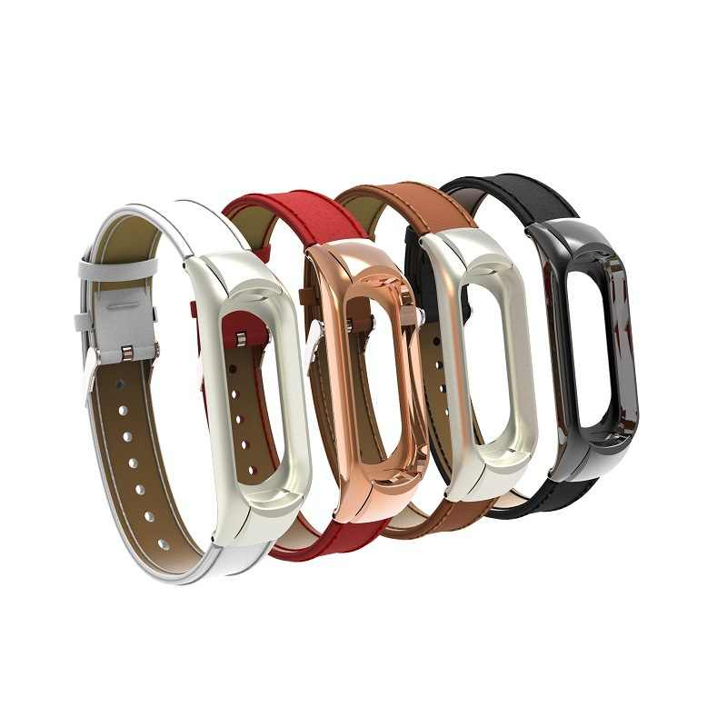 Leather Strap for Original Xiaomi Mi Band 3 Miband 3 Smart Bracelet Wrist Bands Sport Wearable Devices for xiaomi mi band 3