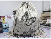 Summer butterfly Canvas Drawstring Backpack Super Thick Encryption Pocket Softback Shoulders Draw String Shopping Bag