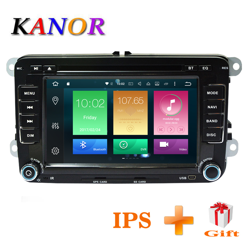 KANOR Voiture Lecteur Multimédia Android 8.0 4 + 32g 2 Din Pour Golf 5 6 Passat B6 Polo Caddy siège Skoda canbus dvd automotivo fm radio