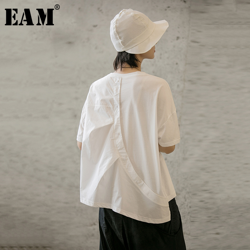 [EAM] 2020 New Spring Summer Round Neck Short Sleeve Whte Back Button Split Joint Loose Big Size T-shirt Women Fashion JX616