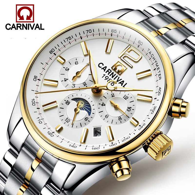цена CARNIVAL Mechanical Mens Watches Top Brand Luxury Automatic Watch Stainless Steel Multifunction Male Clock relogio montre homme
