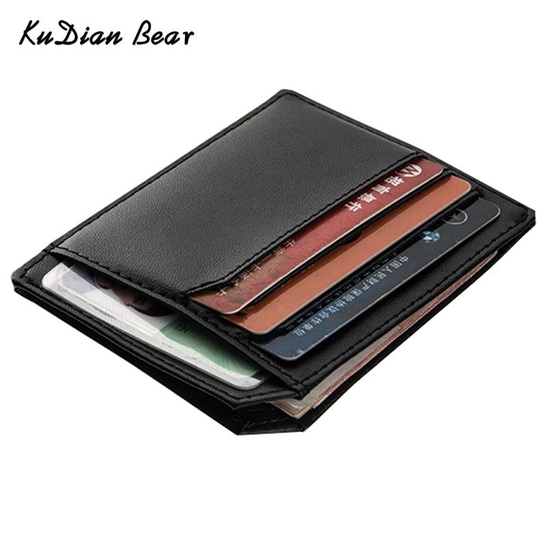 KUDIAN BEAR PU Läder Slim Män Kreditkort Hållare Märke Design Card Organizer Male Plånböcker Purses Tarjetero Hombre - BID104 PM30