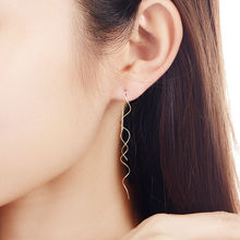 New Silver Plated wave long earrings for women Fashion Jewelry hanging Earrings female brincos Bijoux Top