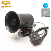 12V Multi Tone Microphone Horn Car Siren 110db Speaker Super Loud Car Horns Sound Airhorn Car