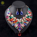 2016 African Jewelry Sets Wedding Necklace Womens Jewellery Set Gold Plated Necklace And Earrings 6Colors