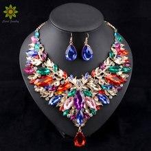 2016 Womens Collar Joyería de La Boda Joyería Africana Fija Set Chapado En Oro Collar Y Pendientes 6 Colores