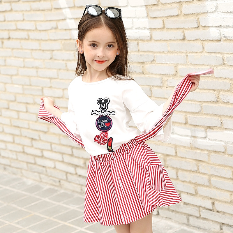 Little Girls Skirts Sets 2 pieces Short Sleeve T shirt Striped Skirts Teenage Girls Clothing Sets 8 10 12 14 years 2018 spring girls clothing sets baby teenage kids girls clothes denim coats skirts long sleeve suits outwear 8 10 12 14 years