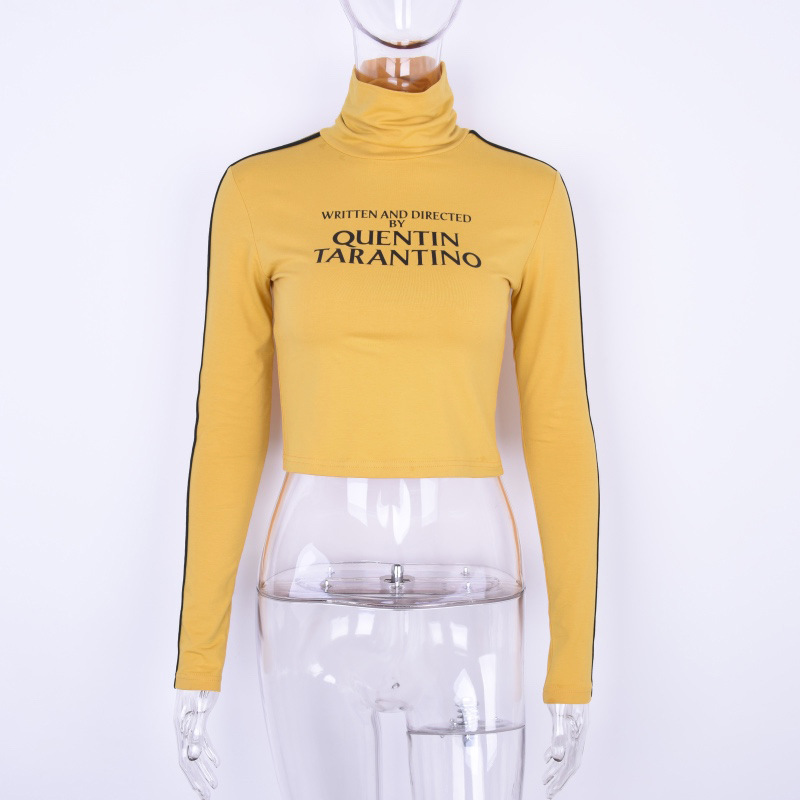 yellow t shirt women spring autumn long sleeves turtleneck quentin tarantino t-shirts female tops harajuku high quality tshirt