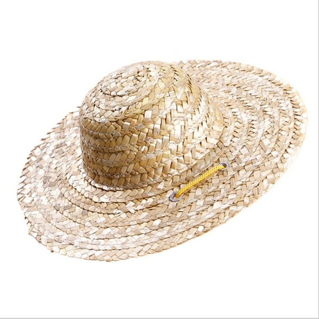 Summer Pet Dog Cat Cool Straw Hat Sun Hats Adjustable Pets Dog Puppy Caps  Classic Solid Farmer Hat Pet Accessories 1fe1327c1765