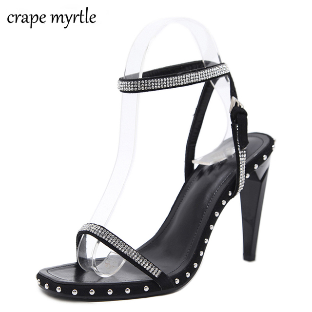 3efd2194f woman summer shoes sandals stiletto heel strappy sandals high heels women open  toe rhinestone pumps fashion women shoes YMA168