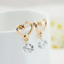 Korean fashion Charm Female  Hollow Heart zircon Jewelry Women Golden Silvery Earrings Gift Dangle