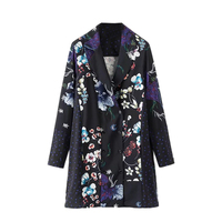 European Style Women S Autumn Flower Printed Suit Dress Stitching Double Breasted Loose Thin Long Sleeved