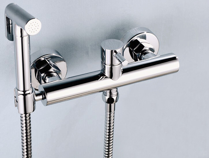 Free shipping 15cm Brass Hot and Cold Water Mixer Bathroom Toilet Spray With Shower Holder Handheld Bidet mixer Faucet bd742 free shipping chrome brass hand shower set faucet wall mounted with brass holder and hot cold control shower valve is125