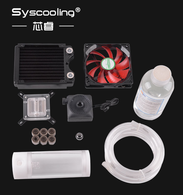 syscooling new design water cooling kits for computer case high performance Syscooling Flexible Tube Cooling Kits No.2 Intel CPU Copper LED fan HOT SALE!!!!