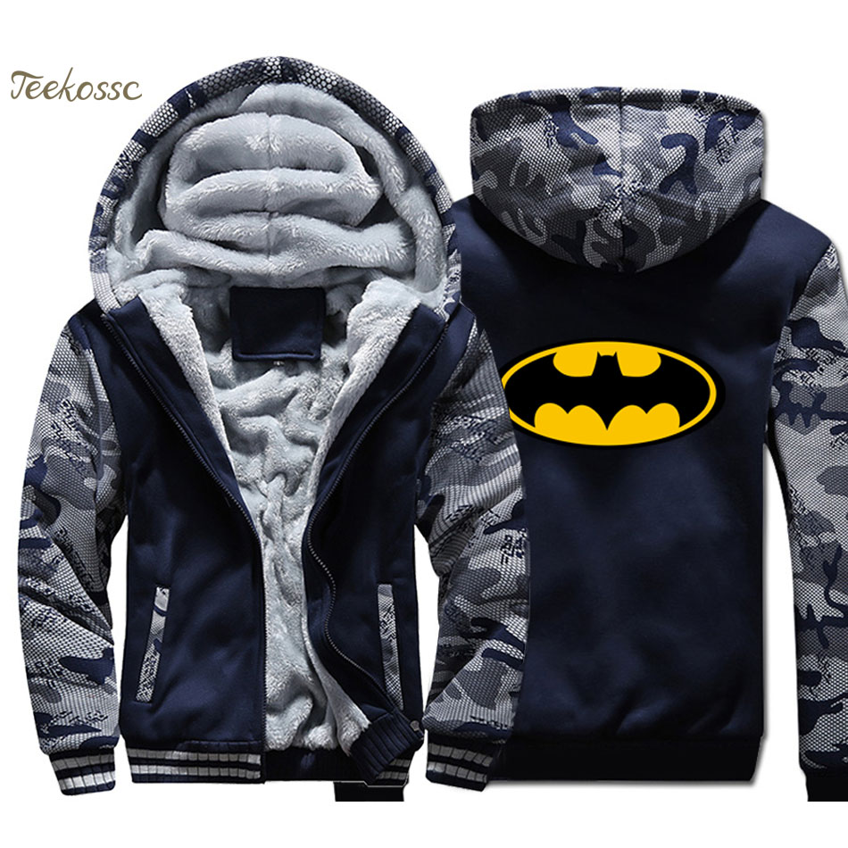 Batman Hoodie Men Super Hero Hooded Sweatshirt Coat 2018 New Winter Thick Fleece Warm Camouflage Printed Jacket Brand Clothing