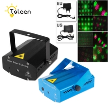 Sale TSLEEN LED Laser Projector 20 Pattern Christmas Decoration Laser Stage Light Pointer Voice Active Disco DJ Xmas Party Club Light