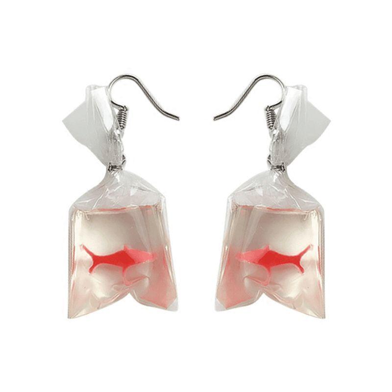 Fish Swim Personality Funny Sack Goldfish Earrings Woman Pierced Ear Clip Weird Пирсинг ушей