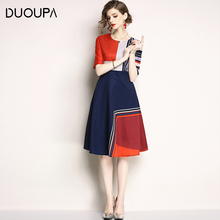 DUOUPA Womens 2019 Fashion New Temperament Print Round Neck Five-point Sleeves Long Slim Slimming DressDress Spring A