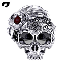 316L Titanium Steel Punk Skull Ring For Men and Women Gothic Style Jewelry Biker Flower Sugar Skull Rings R371 equte 316l titanium steel calendar style couple lovers rings silver coffee men 8 women 6