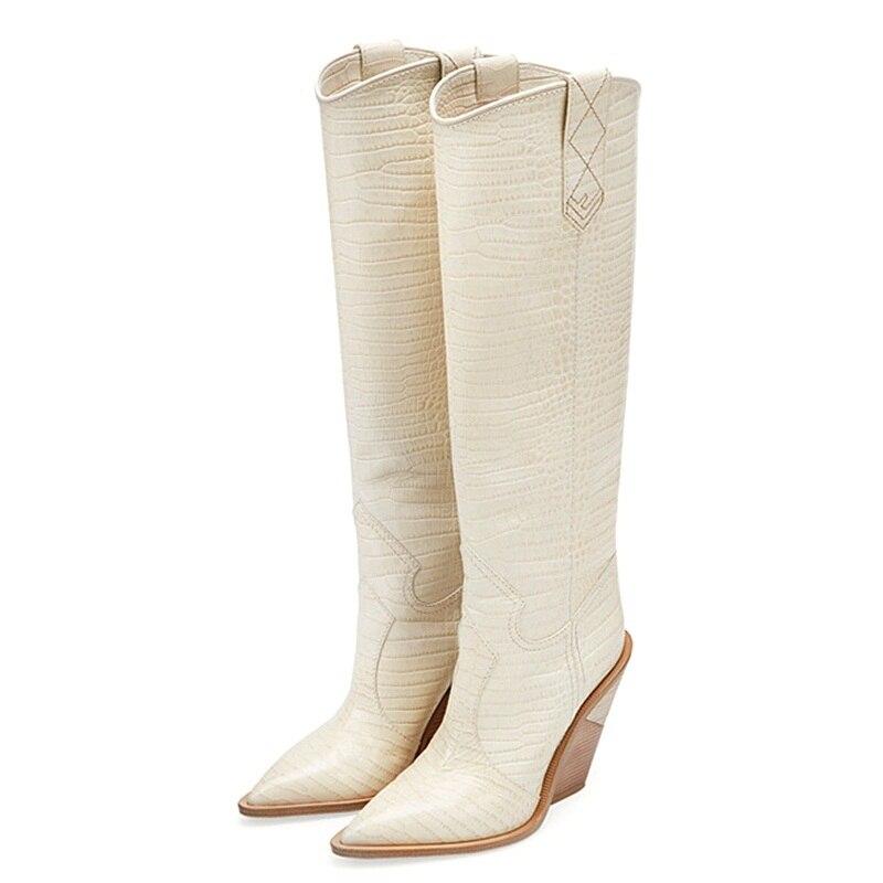 VANKARING العلامة التجارية تصميم سميكة عالية الكعب جلد كاوبوي حذاء بكعب عال للنساء الخريف الشتاء الأحذية وأشار اصبع القدم مدارج امرأة الثلوج-في بوت للركبة من أحذية على  مجموعة 2