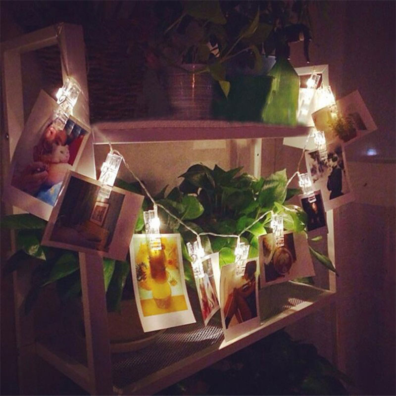 Holiday Lighting 1.2M 10 LED Card Photo Wall Clip Fairy String Light Home Christmas Decoration Battery Operated Lamps   LB88
