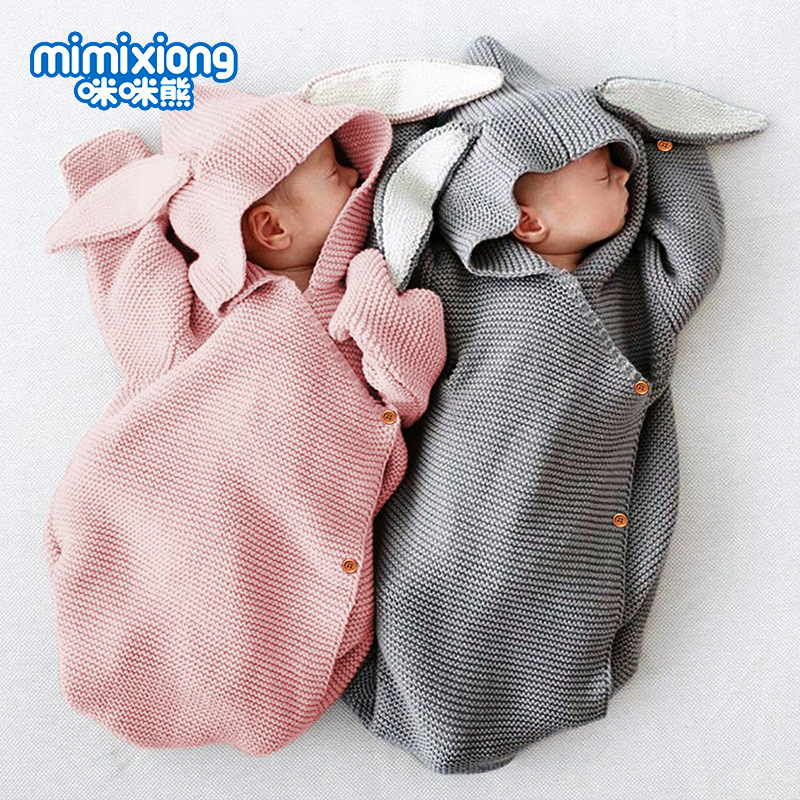 Baby Sleeping Bags Rabbit Autumn Winter Warm Toddle Infant Knitted Stroller Swaddle Wrap Nest Envelopes For Newborn Kids