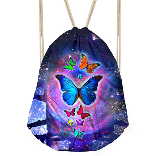 DOGINTHEHOLE Galaxy Butterfly Drawstring Bag for Women Colorful Backpack  Small Drawstring Backpack for School Girls Storage