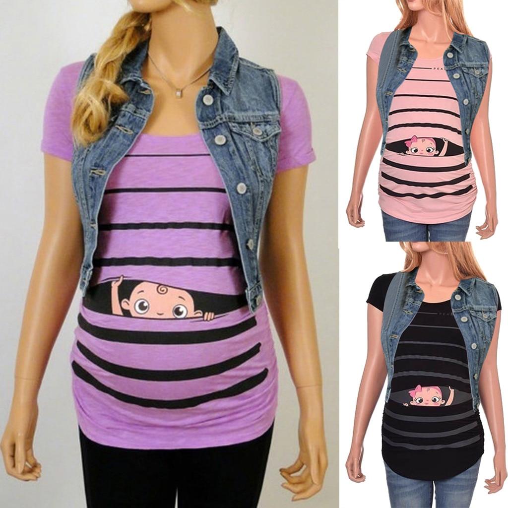Women Pregnant Stylish Cute Baby Printed Sleeveless Funny Pregnant Maternity Dress Cartoon Ruffled Summer Dress